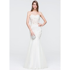 Trumpet/Mermaid Sweetheart Floor-Length Tulle Lace Wedding Dress With Beading Sequins