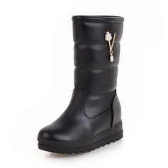 Women's Leatherette Low Heel Closed Toe Boots Mid-Calf Boots Snow Boots With Rhinestone shoes