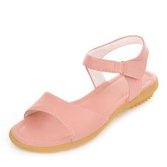 Femmes Similicuir Talon plat Sandales Chaussures plates À bout ouvert Escarpins avec Velcro chaussures