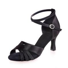 Женщины Атлас кожа На каблуках Сандалии Латино с Ремешок на щиколотке Обувь для танцев