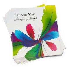 Personalized Feather Paper Thank You Cards (Set of 50)