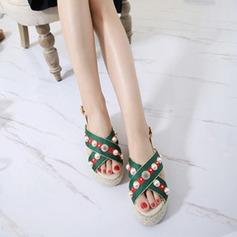 Kvinnor Konstläder Kilklack Sandaler Plattform Peep Toe Slingbacks med Oäkta Pearl Flätad rem skor