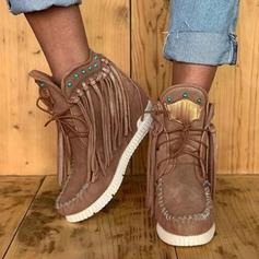 Donna Camoscio Senza tacco Stivali Stivali alla caviglia con Allacciato Nappa scarpe
