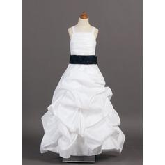 A-Linie/Princess-Linie Bodenlang Blumenmädchenkleid - Taft Ärmellos mit Rüschen/Schleifenbänder/Stoffgürtel/Suchen Up Skirt