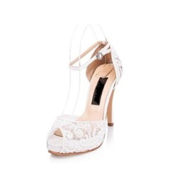 Frauen Lace Stöckel Absatz Peep Toe Plateauschuh Sandalen Beach Wedding Shoes