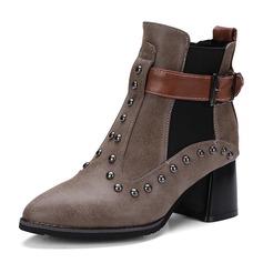 Femmes Similicuir Talon bottier Bottes Bottes mi-mollets Martin bottes avec Rivet Boucle Bande élastique chaussures