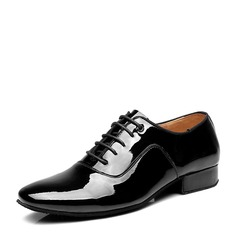 Men's Patent Leather Latin Modern Ballroom Swing With Lace-up Dance Shoes