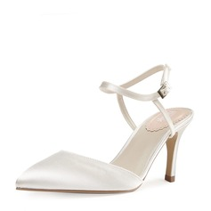Women's Satin Stiletto Heel Closed Toe Pumps Sandals Slingbacks With Buckle