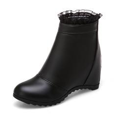 Kvinder Kunstlæder Blonder Kile Hæl Kiler Støvler Ankelstøvler med Lynlås sko