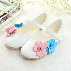 Muchacha Punta Cerrada Kunstleder Talón plano Planos Zapatos de niña de las flores con Velcro Flor