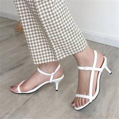 Mulheres Couro Salto robusto Sandálias Bombas com Fivela sapatos