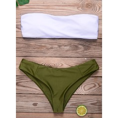 Sexet Solid Color Stropløs Trekant Polyester Elasthan Bikinier badedragt