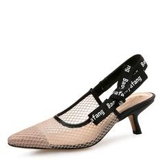 Vrouwen Mesh Kitten Hak Sandalen Closed Toe Slingbacks met strik Elastiek schoenen