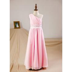 A-Line/Princess Floor-length Flower Girl Dress - Chiffon Sleeveless One-Shoulder With Ruffles/Beading/Sequins (010093756)