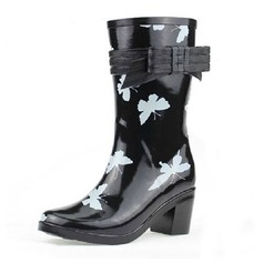 Frauen Gummi Stämmiger Absatz Stiefel-Wadenlang Regenstiefel mit Bowknot Schuhe