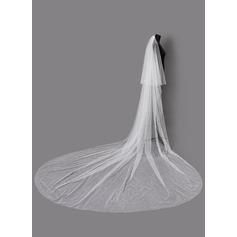 2 couches Bord de coupe Voiles de mariée chappelle avec De faux pearl