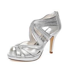 Women's Leatherette Stiletto Heel Peep Toe Sandals (047083299)