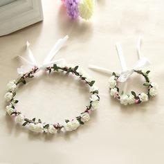 Herlig enkelt blomst Rund Klut Blomstersett - Håndledd Corsage/hodeplagg Flower