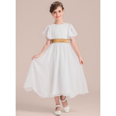 A-Line Tea-length Flower Girl Dress - Chiffon/Charmeuse Short Sleeves Scoop Neck With Sash