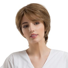 Rett Syntetisk Human Hair Parykker