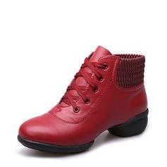 Mulheres Couro verdadeiro Tênnis Tênnis Treino com Aplicação de renda Sapatos de dança