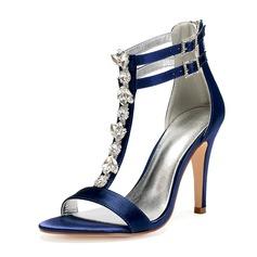 Frauen Seide wie Satin Stöckel Absatz Peep-Toe Absatzschuhe Sandalen mit Strass Reißverschluss
