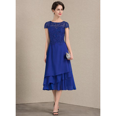 A-Line/Princess Scoop Neck Tea-Length Chiffon Lace Mother of the Bride Dress (008143361)
