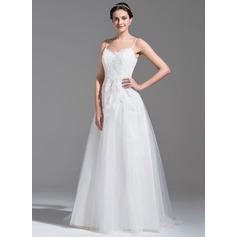 Vestidos princesa/ Formato A Amada Sweep/Brush trem Tule Renda Vestido de noiva com Beading lantejoulas