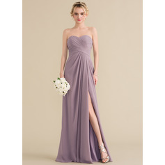 A-Line/Princess Sweetheart Floor-Length Chiffon Bridesmaid Dress With Ruffle Split Front (007144759)