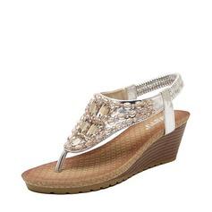 Женщины кожа Вид каблука Сандалии Платформа Танкетка Открытый мыс с горный хрусталь Эластичная лента обувь