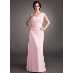 Forme Princesse Encolure asymétrique Longueur ras du sol Mousseline Robe bal d'étudiant avec Plissé Emperler Sequins