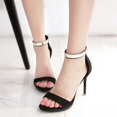 Frauen Wildleder Stöckel Absatz Sandalen Absatzschuhe Peep Toe Slingpumps mit Pailletten Reißverschluss Schuhe