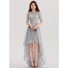 A-Line/Princess Scoop Neck Asymmetrical Tulle Lace Prom Dress (018138566)