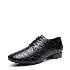 Hommes Vrai cuir Chaussures plates Salle de bal avec Dentelle Chaussures de danse