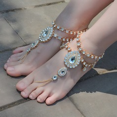 Rhinestone Alloy Foot Jewellery (Sold in a single piece) (107130776)