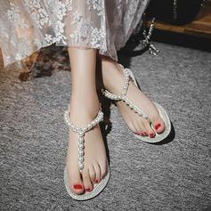Vrouwen Echt leer Flat Heel Sandalen Beach Wedding Shoes met Imitatie Parel