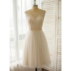 Corte A Ilusão Coquetel Tule Renda Vestido de noiva