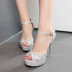 Vrouwen Kunstleer Stiletto Heel Peep Toe Sandalen met Strass