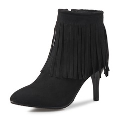 Women's Suede Stiletto Heel Pumps Closed Toe Boots Ankle Boots Mid-Calf Boots With Zipper Tassel shoes