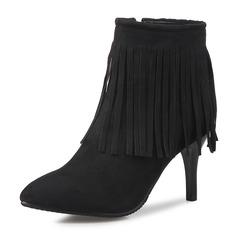 Donna Camoscio Tacco a spillo Stiletto Punta chiusa Stivali Stivali alla caviglia Stivali altezza media con Cerniera Nappa scarpe