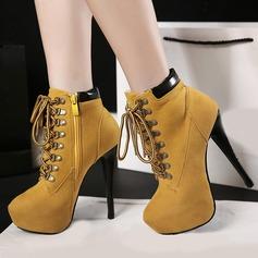 Femmes Similicuir Talon stiletto Escarpins Bottes avec Zip Dentelle chaussures
