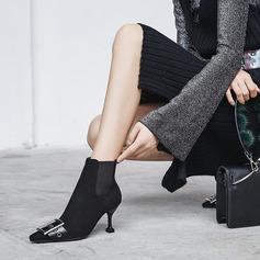 Frauen Kunstleder Stöckel Absatz Stiefelette mit Schnalle Reißverschluss Schuhe