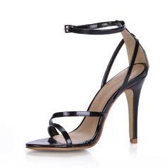 Couro Brilhante Salto agulha Sandálias com Fivela sapatos