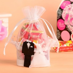 Bride & Groom Basket Favor Bags With Ribbons (Set of 12)