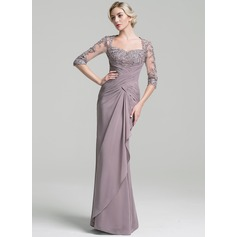 Trumpet/Mermaid Sweetheart Floor-Length Chiffon Evening Dress With Ruffle Cascading Ruffles (017096352)