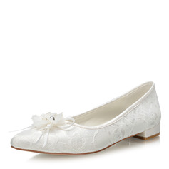 Kvinner Blonder Stoff Flat Hæl Lukket Tå Flate sko med Blomst