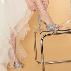 Женщины кожа Высокий тонкий каблук Открытый мыс На каблуках с горный хрусталь блестками
