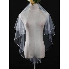 Uno capa Borde en perla Velos de novia vals con Encaje