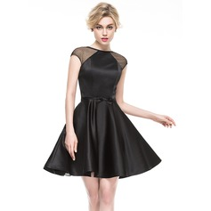 A-Line/Princess Scoop Neck Short/Mini Satin Cocktail Dress With Bow(s) (016081210)