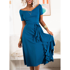 Midi Off the Shoulder Polyester Solid Short Sleeves Fashion Dresses (199241903)